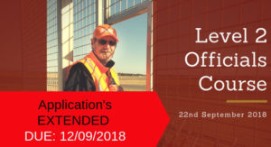 Officials Course 22/09/2018 – Applications EXTENDED